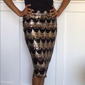 Windsor Black And Gold Scalloped Highwaisted skirt